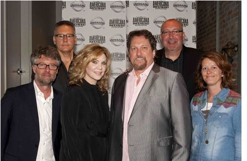 (L-R) - Jed Hilly, Executive Director, Americana Music Association; Randy Goodman, Nashville Music Council; Alison Krauss; Jerry Douglas; Jon Brancheau, Vice President/Marketing, Nissan; Lenore Kinder, Talent Buyer, AEG Live /The Messina Group. Photo by Erika Goldring