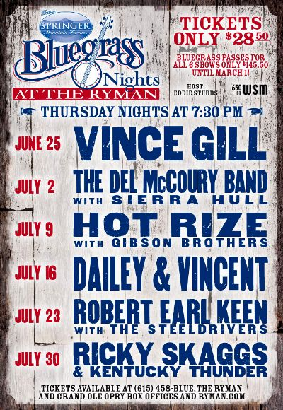 Bluegrass Nights at the Ryman Lineup