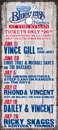 Bluegrass Nights at the Ryman schedule