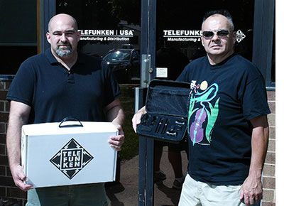 Pictured picking up an assortment of mics at TELEFUNKEN headquarters in Connecticut, (L-R) are Litchfield Jazz Fest audio engineers Brian Silver and Nick Joyce.