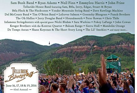 2016 Telluride Bluegrass Single Day Linup
